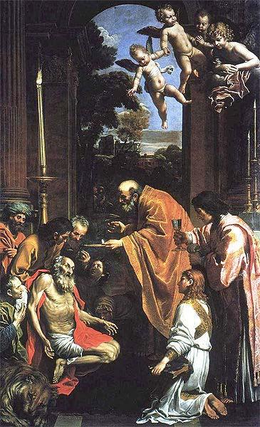 Domenico Zampieri Last Communion of St. Jerome,
