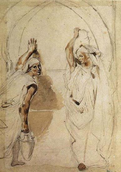 Eugene Delacroix Two Women at the Well oil painting image
