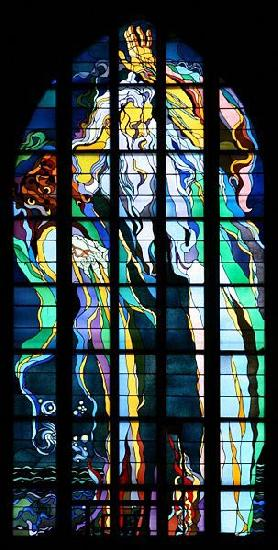 Stanislaw Wyspianski Stained glass window in Franciscan Church, designed by Wyspiaeski