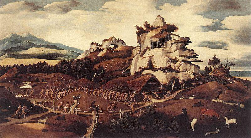 Jan Mostaert Landscape with an Episode from the Conquest of America or Discovery of America