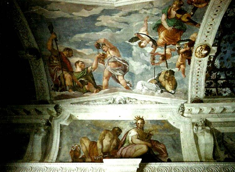 Paolo  Veronese ceiling of the stanza di bacco oil painting image