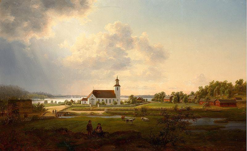 Ernfried Wahlqvist Landscape with a church by a river
