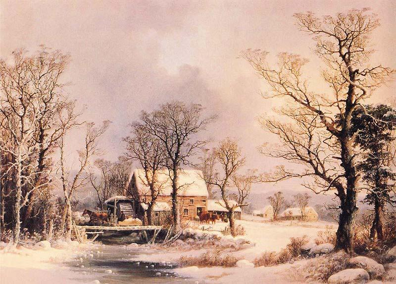 George Henry Durrie Winter in the Country, The Old Grist Mill oil painting image