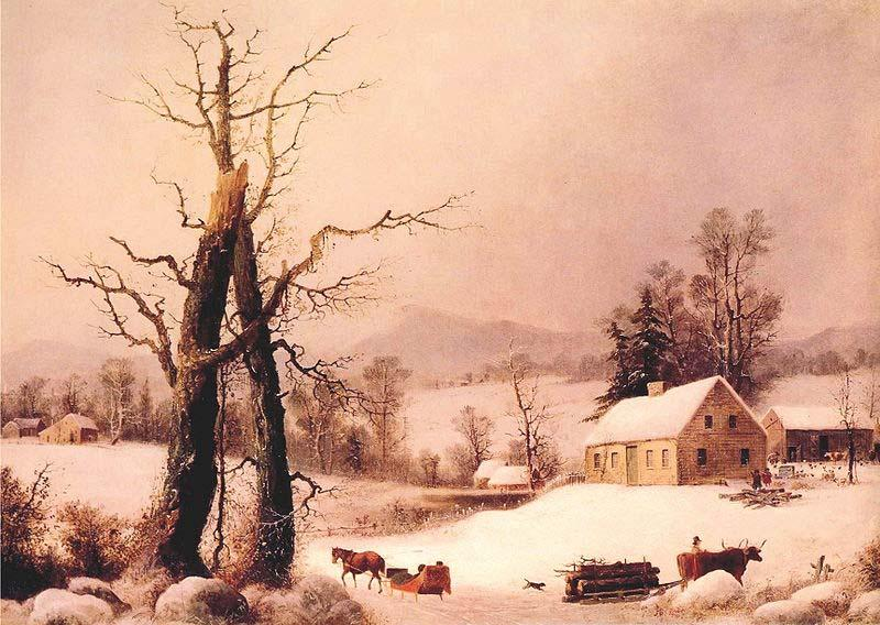 George Henry Durrie Winter Farmyard and Sleigh oil painting image