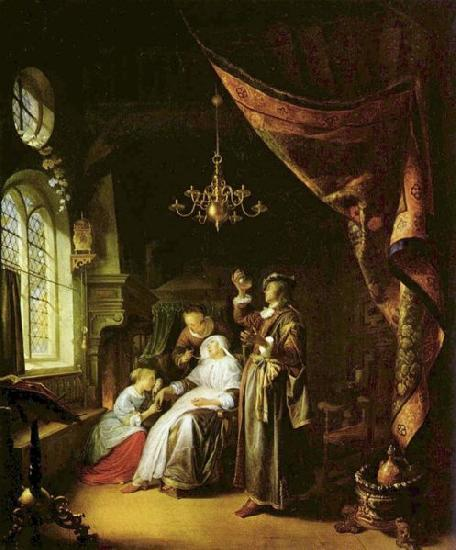 Gerrit Dou The Dropsical Woman. oil painting image