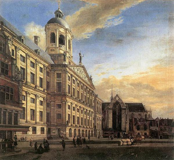 Jan van der Heyden Amsterdam, Dam Square with the Town Hall and the Nieuwe Kerk oil painting image