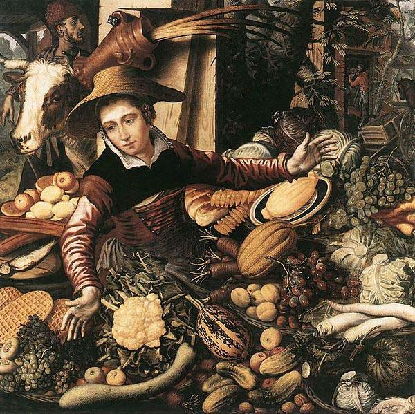 Pieter Aertsen Market Woman with Vegetable Stall