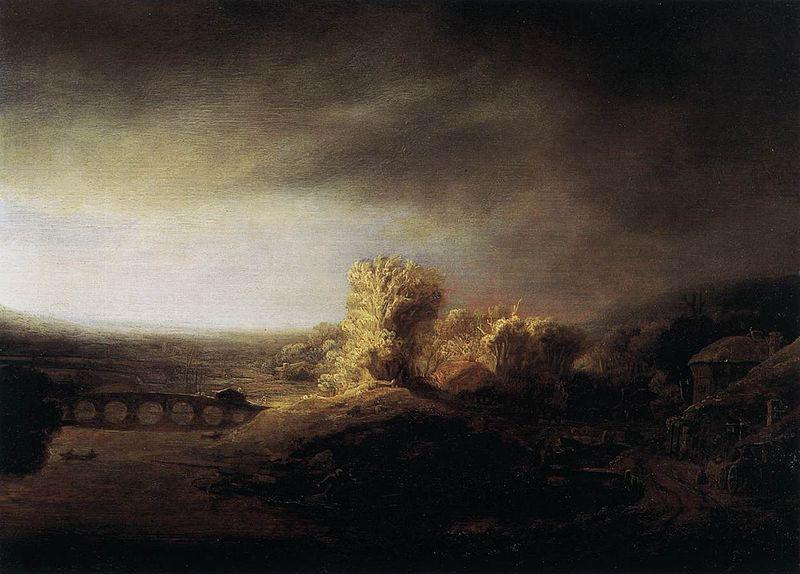 REMBRANDT Harmenszoon van Rijn Landscape with a Long Arched Bridge