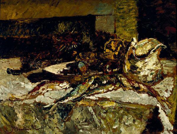 Artist Adolphe Joseph Thomas Monticelli Still Life with Sardines and Sea-Urchins