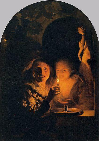 Godfried Schalcken Lovers Lit by a Candle oil painting image