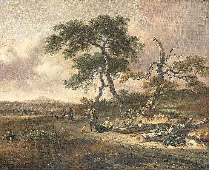 Jan Wijnants Landscape with pedlar and resting woman.