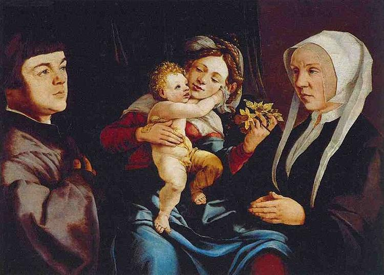 Jan van Scorel Madonna of the Daffodils with the Child and Donors oil painting image