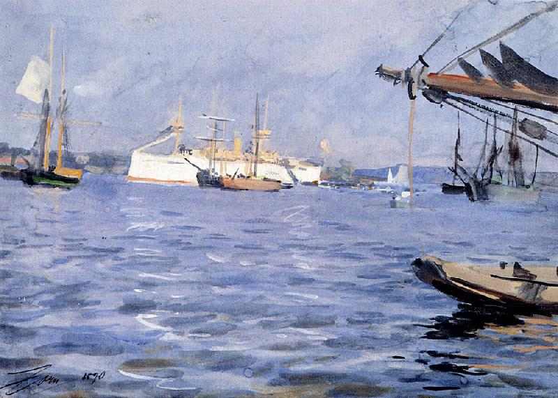Anders Zorn The Battleship Baltimore in Stockholm Harbor