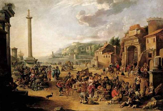 GRAFF, Anton A market in an Italianate harbour with Diogenes in search of an honest man oil painting image