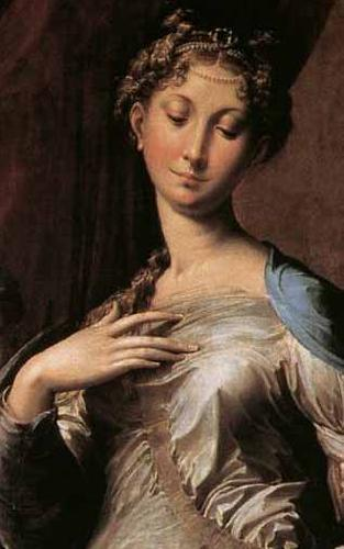 PARMIGIANINO Madonna with Long Nec Detail oil painting image