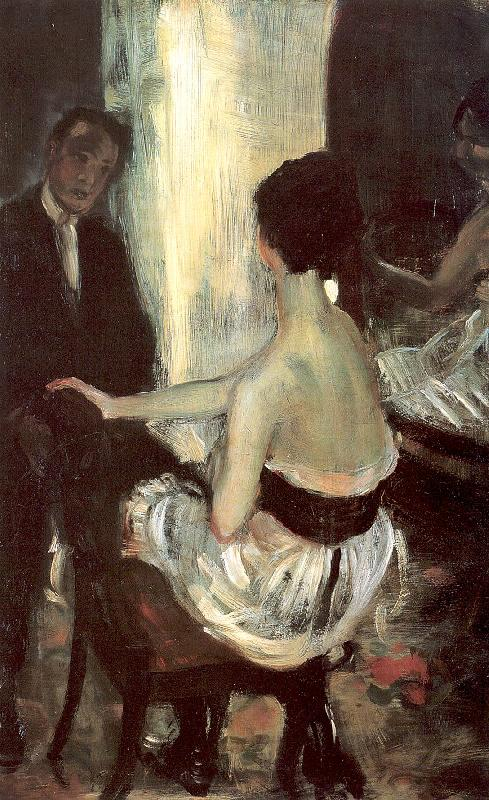 Glackens, William James Seated Actress with Mirror oil painting image