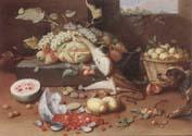 Jan Van Kessel the Younger Still life of a watermelon,pears,grapes and melons,plums,apricots and pears in a basket,with a dog surprising a monkey and fraises-de-bois spilling ou oil painting image