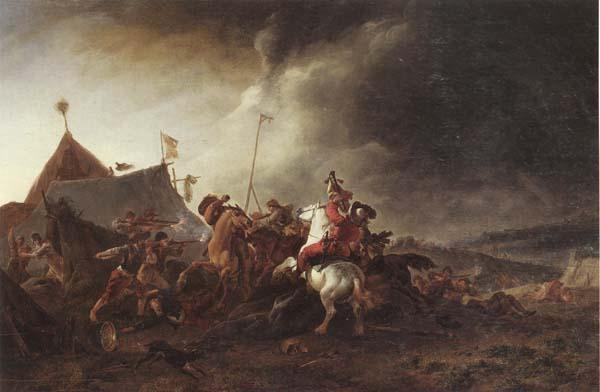 Philips Wouwerman A Detachment of cavalry attacking a camp oil painting image