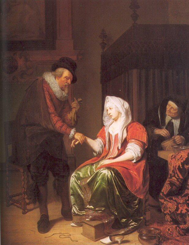 Musscher, Michiel van Doctor Taking a Young Woman's Pulse oil painting image