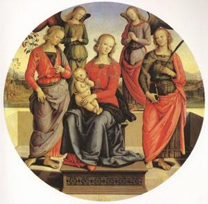 Pietro Perugino The Virgin and child Surrounded by Two Angels (mk05) oil painting image