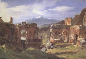 Achille-Etna Michallon Ruins of the Theater at Taormina (Sicily) (mk05)