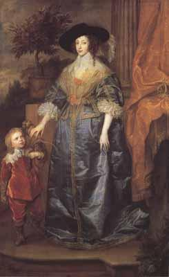 Anthony Van Dyck Portrait of queen henrietta maria with sir jeffrey hudson (mk03)