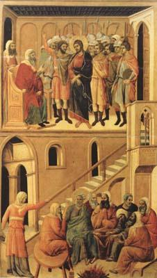 Duccio di Buoninsegna Peter's First Denial of Christ and Christ Before the High Priest Annas (mk08)