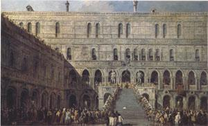 Francesco Guardi The Coronation of the Doge on the Staircase of the Giants at the Ducal Palace (mk05) oil painting image