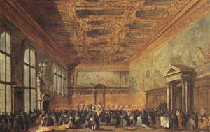 Francesco Guardi rThe Doge Grants an Andience in the Sala del Collegin in the Ducal Palace (mk05) oil painting image