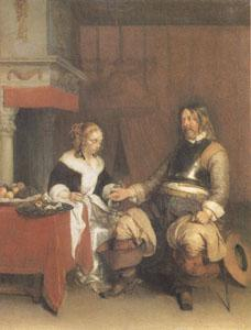 Gerard Ter Borch The Military Admirer (mk05) oil painting image