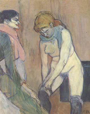 Henri de toulouse-lautrec Woman Pulling up her stocking (san22) oil painting image
