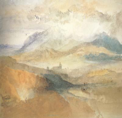 Joseph Mallord William Turner View of an Alpine Valley probably the Val d'Aosta (mk10) oil painting image