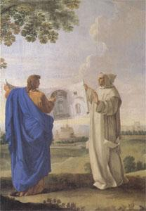 LE SUEUR, Eustache St Bruno Examining a Drawing of the Baths of Diocletian Location of the Future Charterhouse of Rome  (mk05) oil painting image