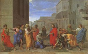 Poussin Christ and the Woman Taken in Adultery (mk05) oil painting image