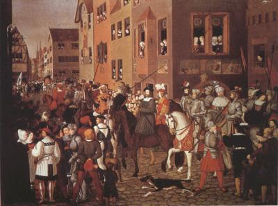 Franz Pforr Entry of Emperor Rudolf of Habsburg into Basel in 1273 (mk22) oil painting image