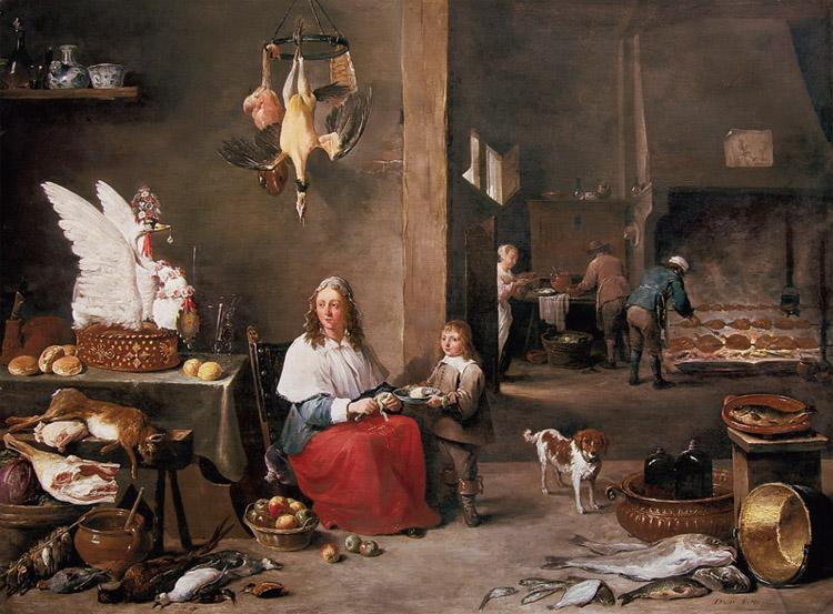 TENIERS, David the Younger Kitchen Scene (mk14) oil painting image
