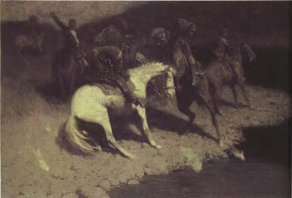 Frederic Remington Fired on (mk43) oil painting image