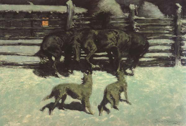 Frederic Remington The Call for Help (mk43) oil painting image