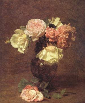 Henri Fantin-Latour White and Pink Roses (nn03) oil painting image