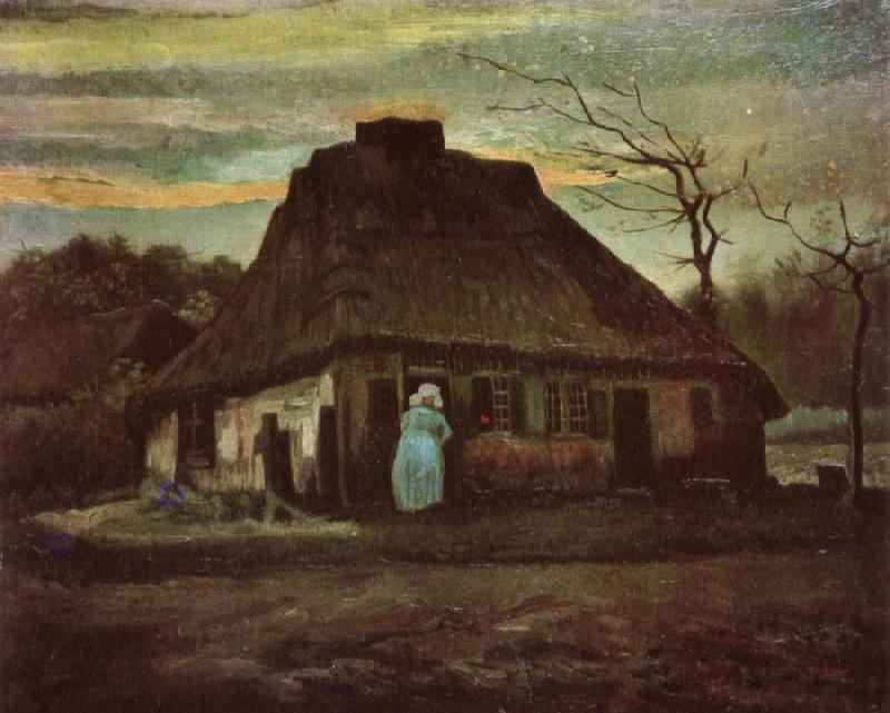 Vincent Van Gogh Cottage with Trees (nn04) oil painting image