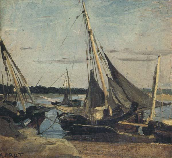 camille corot Trouville Fishing Boats Stranded in the Channel (mk40) oil painting image