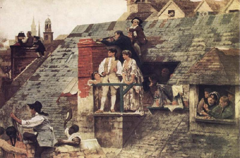 Edwin Howland Blashfield The Boston People Watching From the Housetops,Firing at Bunker Hill oil painting image